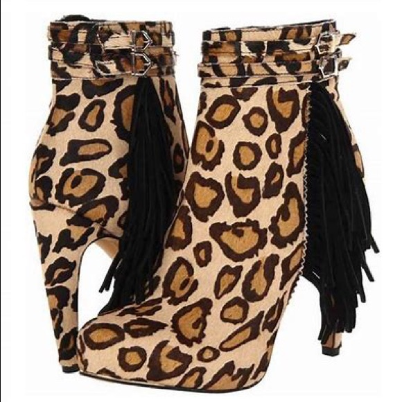 d824ae528bc9 Sam Edelman Shoes | 225 Leopard Fringe Boot Bootie 85 | Poshmark
